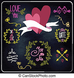 Wedding graphic set on chalkboard.