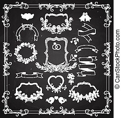 Wedding graphic set with wreaths and ribbons