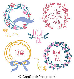 Wedding graphic set, wreath, flowers, arrows, hearts