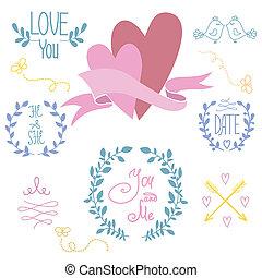 Wedding graphic set, wreath, flowers, arrows