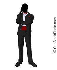 Wedding Groom in a Tuxedo Silhouette