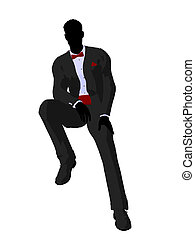 Wedding groom in a tuxedo silhouette illustration on a white background
