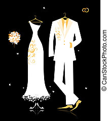 Wedding groom suit and bride's dress white on black for your...