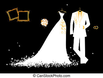 Wedding groom suit and bride's dress white on black for your design