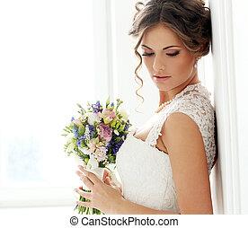 wedding., gyönyörű, menyasszony