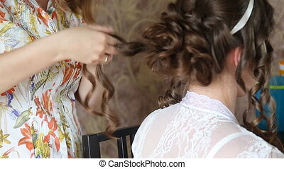 Wedding hairstyle at wedding day
