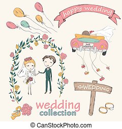 wedding ceremony - Wedding hand drawn doodle collection for...