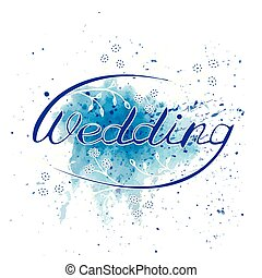 WEDDING HAND LETTERING. Vector illustration. wedding invitation