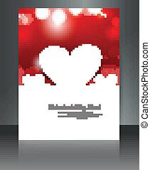 Wedding heart brochure card vector