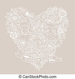 Wedding heart with flowers and birds.