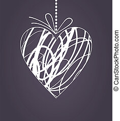Wedding heart2 - White heart on a cord with a bow. A vector...