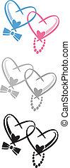 Wedding Hearts - Intertwined hearts. vector art Illus 8