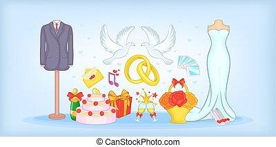 Wedding horizontal banner, cartoon style