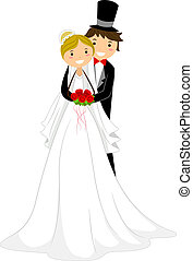 Wedding Hug - Illustration of a Groom Hugging His Bride