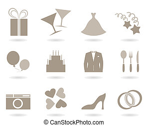 Icons on a theme wedding. A vector illustration