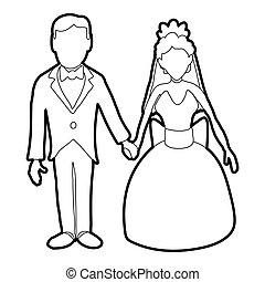 Wedding icon, outline style