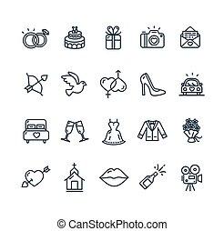Wedding Icon Set. Vector