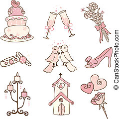 Wedding icons - A vector illustration of a set of wedding ...