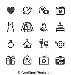Wedding Icons and Love Icons with White Background