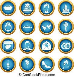 Wedding icons blue circle set