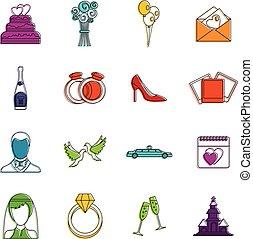 Wedding icons doodle set