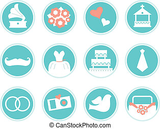Wedding icons in retro style isolated on white ( blue ) -...
