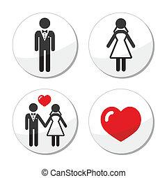 Wedding icons - married couple