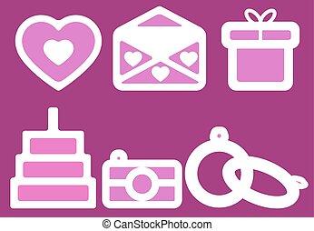 Wedding icons on dark pink background