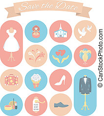Wedding Icons Round Set 2 - Set of modern flat round wedding...