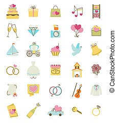 Wedding icons set. Engagement and marriage ceremony accessories, objects, symbols. vector