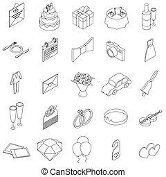 Wedding icons set, isometric 3d style
