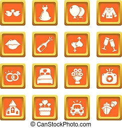 Wedding icons set orange square vector