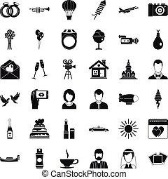 Wedding icons set, simple style