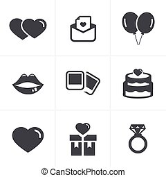 Wedding Icons Set, Vector Design