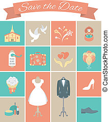 Wedding Icons Square Set 2