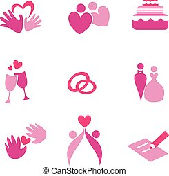 wedding, set of vector icons