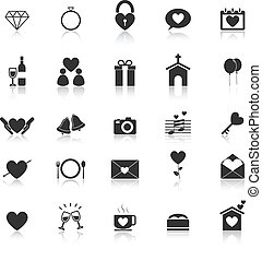Wedding icons with reflect on white background