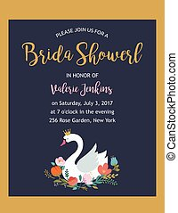 Wedding illustrations with swan, bridal shower invitation