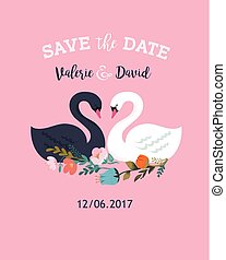 Wedding illustrations with swan, save the date card