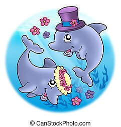 Wedding image with dolphins in sea - color illustration.