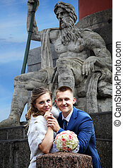 Wedding in Russia, bride and groom are photographed near...