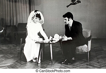 wedding in the 70s in the USSR. Vintage photo.