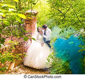 Wedding in the park. Blue Fog