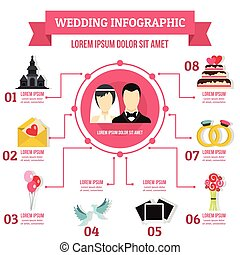 Wedding infographic concept, flat style