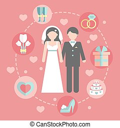 Wedding infographic set with Cartoon Bride and groom. Wedding day coast statistics design template. Vector business concepts with flat icons for business report or plan