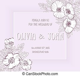 Wedding Invitation Design Template With Save The Date Text And Frame - Save the date text template