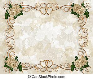Wedding invitation antique roses