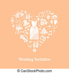 Wedding invitation - Apricot vector invitation card with ...