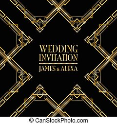 wedding invitation art deco