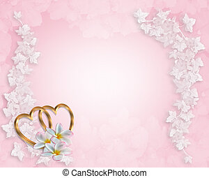 Wedding Invitation Background Pink - 3D Illustrated Gold...